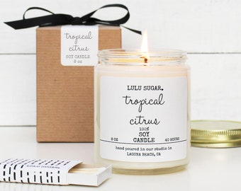 Tropical Citrus Scented Soy Candle - 8 oz jar | Tropical Fruit Scented Candle | Kitchen Candle | Natural Candle | Scented Soy Candle