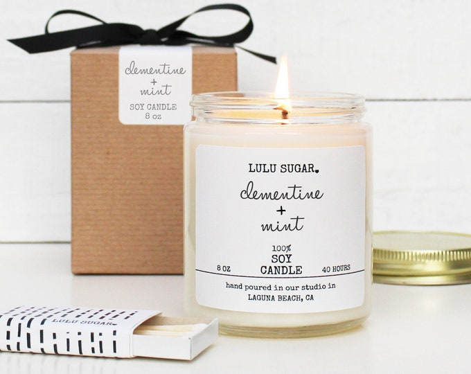 Clementine + Mint Scented Soy Candle - 8 oz jar | Cutie Scented Candle | Kitchen Candle | Natural Candle | Scented Soy Candle