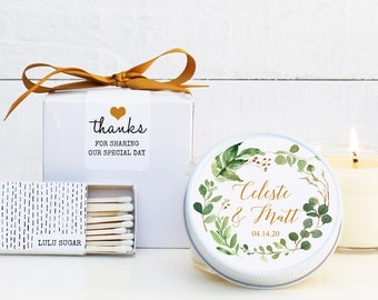 Wedding Favor Candles - Botanical Greenery Label Design - Personalized Wedding Favors | Soy Candle Favor | Boxed Wedding Favors