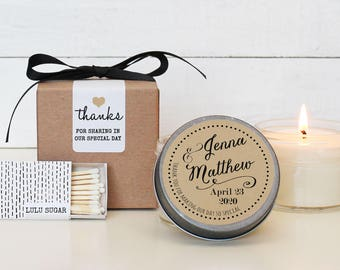 Set of 6 - 4 oz Soy Candle Wedding Favors - Jenna Label Design - Personalized Wedding Favors | Wedding Favor Candles | Wedding Favors