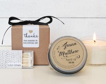 Candle Wedding Favors - Jenna Label Design - Personalized Wedding Favors | Wedding Favor Candles | Wedding Favor Candles