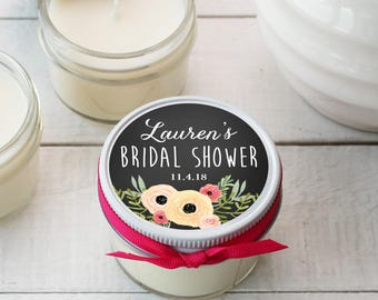Set of 12 - 4 oz Soy Candle Bridal Shower Favors - Sophie Label Design - Rustic Bridal Shower Favors, Mason Jar Bridal Shower Favors