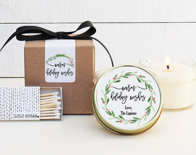 Holiday Candles - Warm Holiday Wishes Design | Christmas Gift | Personalized Holiday Gift | Christmas Party Favors | Candle Favor
