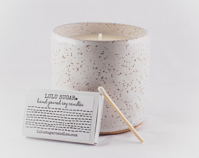 Speckled Ceramic Candle | 8 oz Candle | Handmade Pottery | Scented Soy Candle | One of A Kind Candle | Hand Thrown Pottery