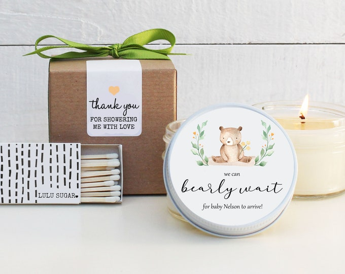 Baby Shower Favor Candles - We Can Bearly Wait Label | Bear Baby Shower Favor | Neutral Baby Shower Favors | Boy Baby Shower Favor Candles