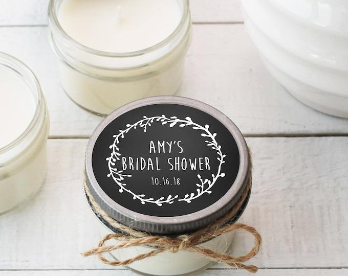Set of 12 - 4 oz Soy Candle Bridal Shower Favors - Laurel Chalkboard Label - Rustic Bridal Shower Favors, Chalkboard Bridal Shower Favors