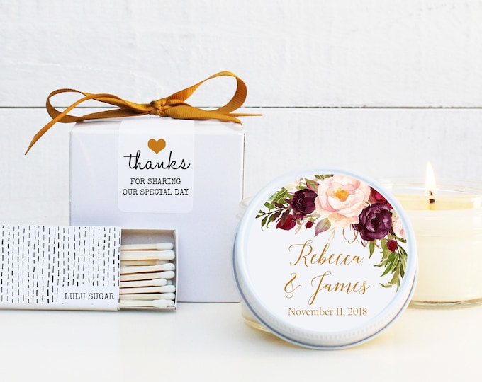 Wedding Favor Candles | Marsala Floral Label Design | Fall Floral Labels | Fall Wedding Favor | Marsala Wedding Favors | Personalized Favors