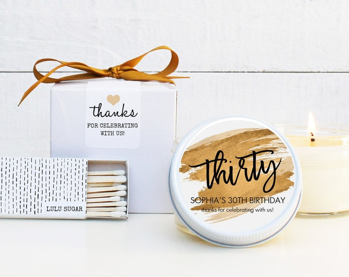 30th Birthday Party Favor Candles | Thirty Birthday Idea | Thirtieth Birthday Favor | Milestone Birthday Party Favor Candles - ANY AGE