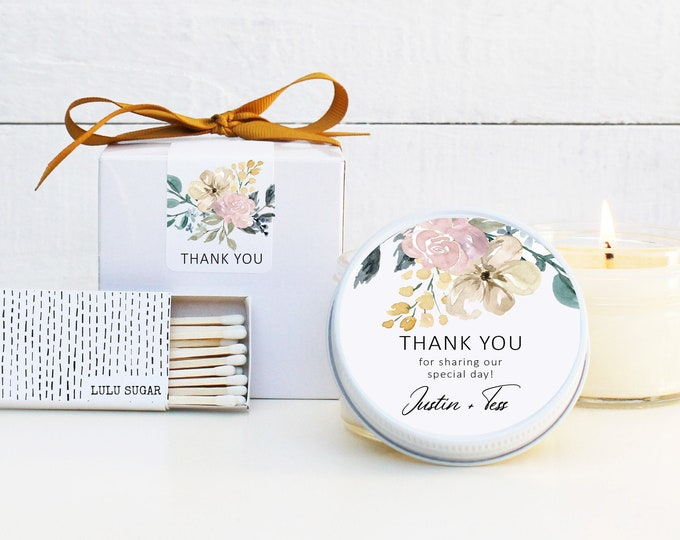 Wedding Favor Candles - Neutral Floral Thank You Label Design - Personalized Wedding Favors | Soy Candle Favor | Floral Wedding Favors