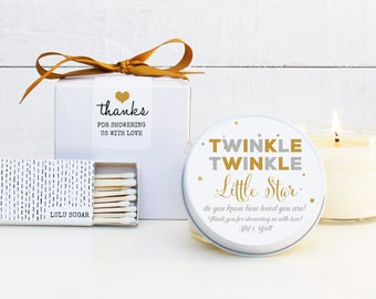 Baby Shower Favor Candles - Twinkle Twinkle Label Design - Personalized Baby Shower Favor | Baby Shower Candle | Baby Shower Decor