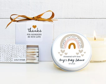 Baby Shower Favor Candles - Showered with love labels | Personalized Shower Favors | Baby Shower Candles | Neutral Baby Shower Favor
