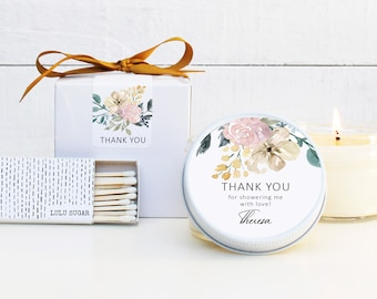 Baby Shower Favor Candles - Neutral Baby Shower Favor | Bridal Shower Favors | Floral Baby Shower Favor Candles | Personalized Favors