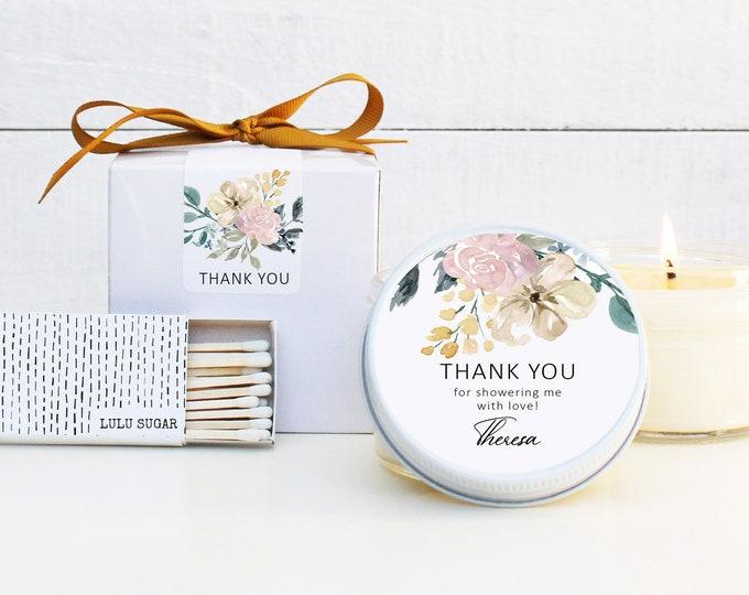 Bridal Shower Favor Candles - Neutral Floral Bridal Shower | Baby Shower Favors | Floral Bridal Shower Favor Candles | Personalized Favors