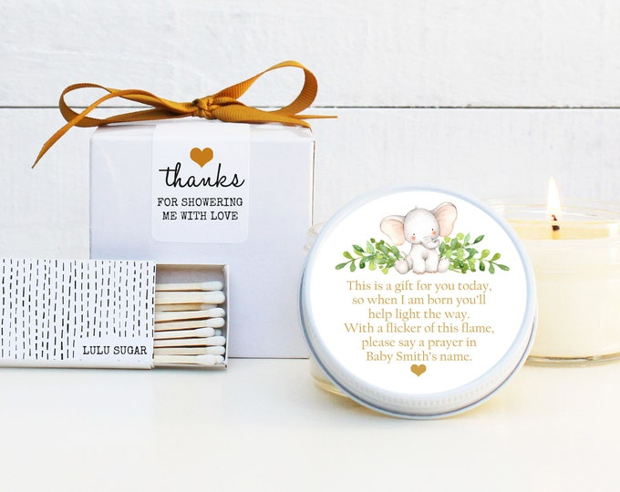 Baby Shower Favor Candles - Elephant Prayer Poem Shower Favor - Personalized Baby Shower Favors | Baby Shower Candles | Prayer Shower Favor