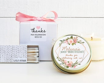 Birthday Party Favor Candles | Womens Birthday Favor Idea | Floral Birthday Favor | Milestone Birthday Party Favor Candles - ANY AGE