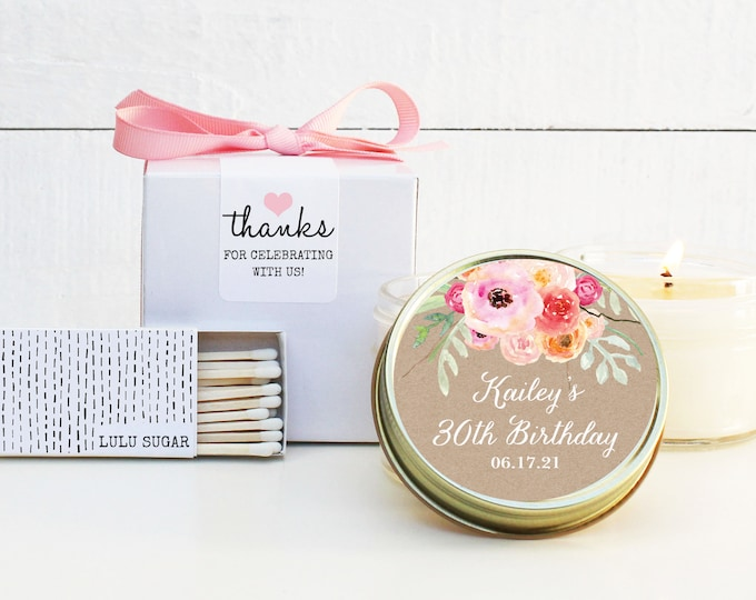 30th Birthday Party Favors - Bouquet Design - Soy Candle Favor | Milestone Birthday Party Favor | Birthday Favor | ANY Age