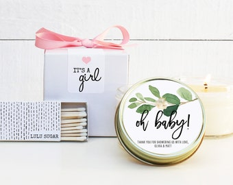 Baby Shower Favor Candles - Oh Baby Greenery Label | Personalized Shower Favors | Baby Shower Candles | Neutral Baby Shower Favor