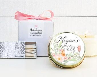 Bridal Shower Favors | Bridal Brunch and Bubbly Label Design | Bridal Brunch Favors| Personalized Favor Candles | Soy Candle Favors