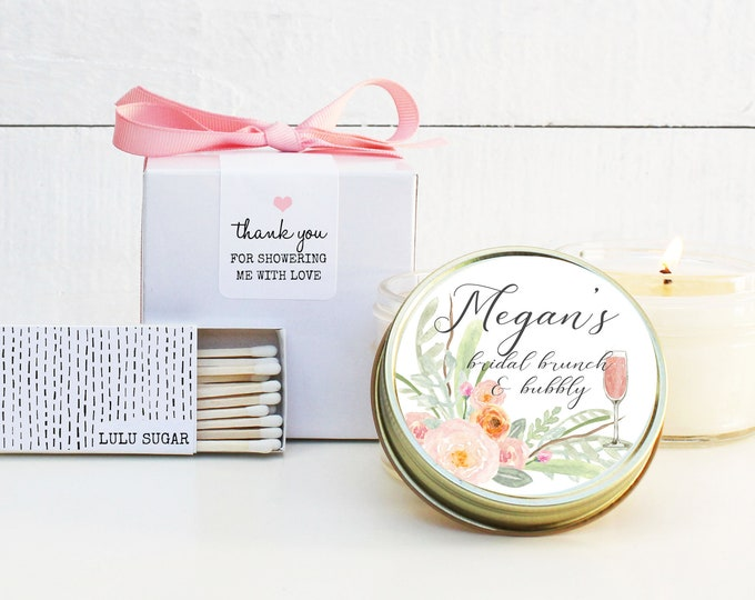 Bridal Shower Favors | Bridal Brunch and Bubbly Label Design | Bridal Brunch Favors| Personalized Favor Candles | Soy Candle Favors