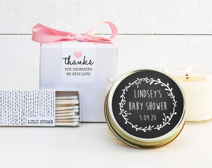Baby Shower Favor Candles - Laurel Chalkboard Label - Candle Baby Shower Favors | Soy Candle Favor | Rustic Shower Favor