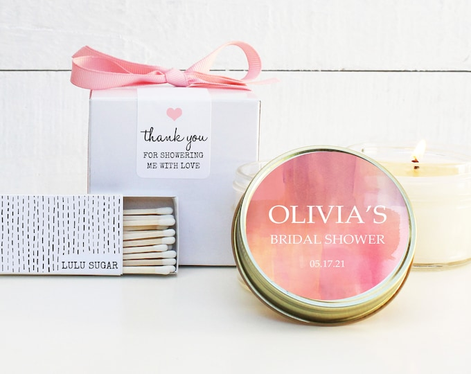 Bridal Shower Favors | Bridal Shower Candles | Pink Haze Favor Candles| Personalized Favor Candles | Watercolor Favor Candles