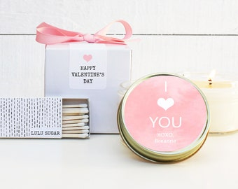Valentine's Day Candles - I Heart You Design | Personalized Valentines | Galentine's Day Candles | Valentine  - MINIMUM of 12 like items