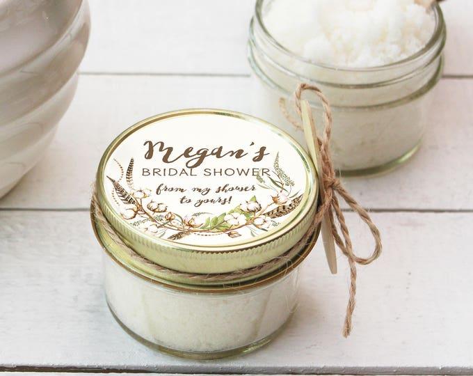 4 oz - Sugar Scrub Favors - All-Natural - Cotton Label Design | Fall Bridal Shower Favor | Fall Baby Shower Favor | Party Favor