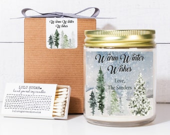Holiday Candle Gift 8oz - Warm Winter Wishes Label Design - Personalized Christmas Gifts | Corporate Holiday Gift
