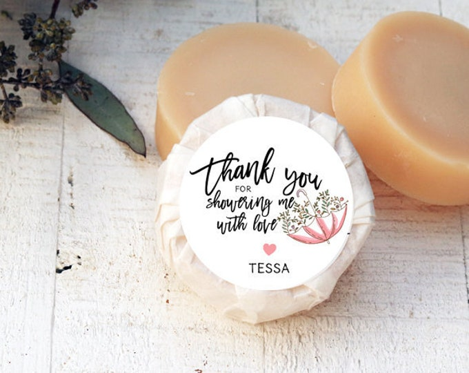 Bridal Shower Favor Soap | Baby Shower Favor Soap | Thank you for showering me with love soap | Small Batch Soap | Vegetable Oil Soap