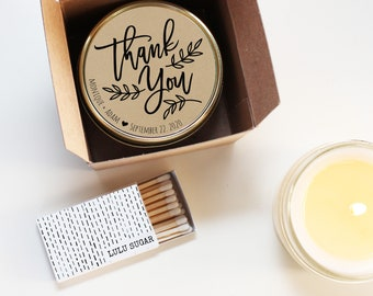 Wedding Favor Candles - Thank You Wedding Favors - Personalized Wedding Favors | Soy Candle Favor | Boxed Wedding Favors