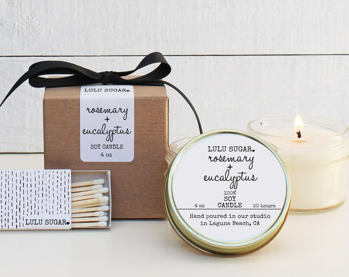 Rosemary + Eucalyptus Scented Soy Candle - 4 oz Candle | Eucalyptus Scented Candle | Rosemary Scented Candle | Natural Candle