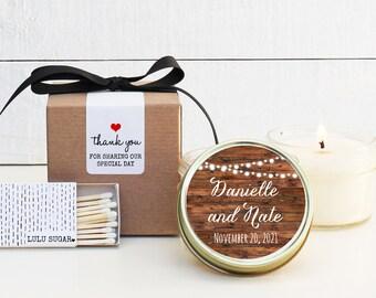 Wedding Favor Candles - String Lights Wedding Favors - Personalized Wedding Favors | Soy Candle Favor | Bistro Lights Wedding Favors