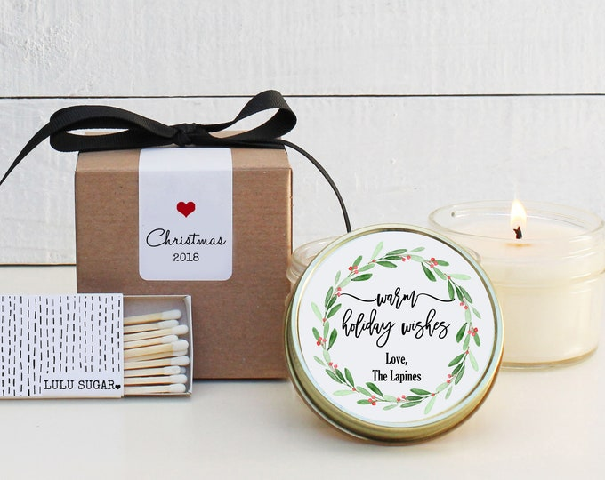 Holiday Candles - Warm Holiday Wishes Design   Christmas Gift   Personalized Holiday Gift   Christmas Party Favors   Candle Favor