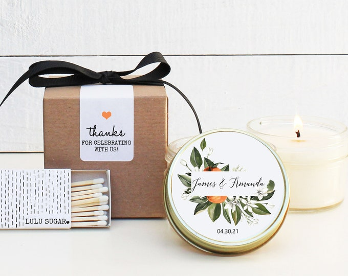 Wedding Favor Candles - Orange Floral Label Design - Personalized Wedding Favors | Soy Candle Favor | Boxed Wedding Favors