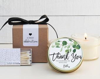 Bridal Shower Favors | Bridal Shower Candles | Eucalyptus Favor Candles | Personalized Favor Candles | Greenery Candle Favors