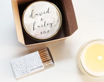 Modern Wedding Favors - Marble Label Design - Wedding Favor Candles | Soy Candle Wedding Favors | Marble Wedding Favors