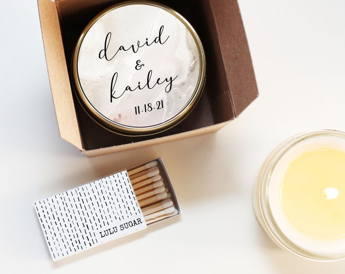 Modern Wedding Favors - Marble Label Design - Wedding Favor Candles | Soy Candle Wedding Favors | Marble Wedding Favors