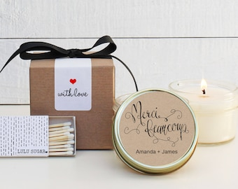 Wedding Favor Candles - Merci Beaucoup Label Design - Thank You Wedding Favors | Personalized Wedding Favors | Soy Candle Favor