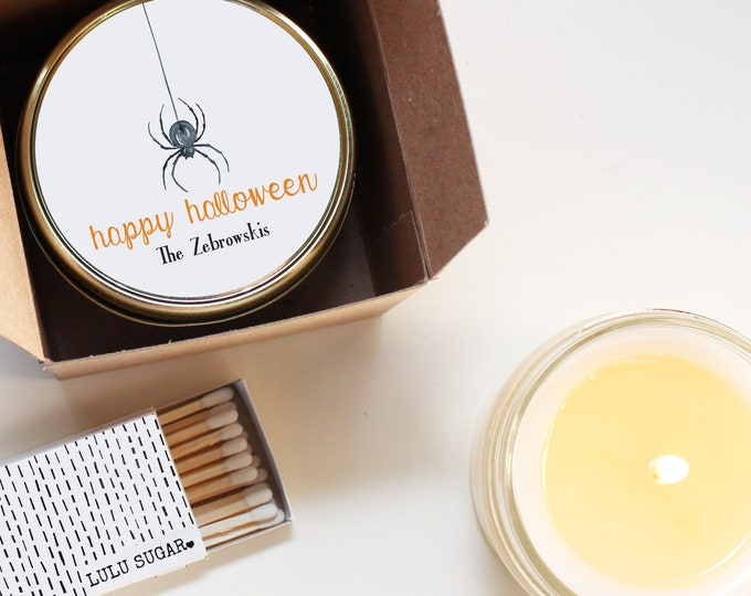 Halloween Party Favor Candles - Spider Label Design - Halloween Scented Candle   Personalized Halloween Favors   Halloween Treats