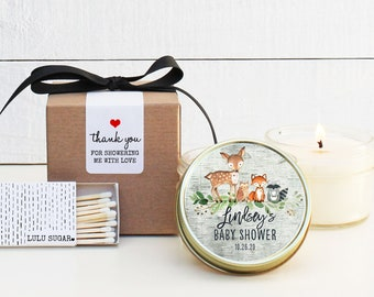 Baby Shower Favor Candles - Woodland Animals Shower Favor - Personalized Baby Shower Favors | Baby Shower Candles | Baby Shower