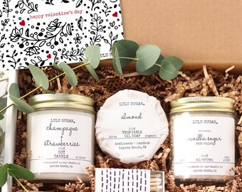 Happy Valentine's Day Gift Set | Valentine's Day Gift | Girl Friend Gift | Spa Gift Set | Candle Gift set | Bath Gift Set | Galentine's Day