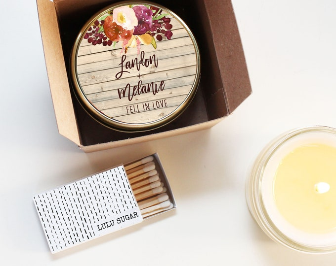 Wedding Favor Candles - Rustic Fall Wedding Favor Label Design - Fall Wedding Favors -- Personalized Wedding Favors