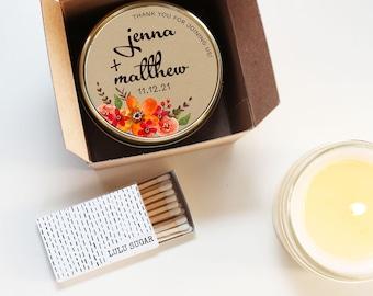 Wedding Favor Candles - Fall Bouquet Label Design | Fall Wedding Favors  | Fall Scented Candle Favor | Fall Floral Favor Candles