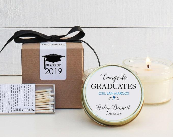 Graduation Favors   Graduation Candles   Personalized Favor Candles  Personalized Graduation Favors   Class of 2019 Favors  - Set of 6