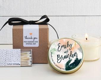 Modern Wedding Favors - Watercolor Label Design - Wedding Favor Candles | Soy Candle Wedding Favors | Watercolor Wedding Favors