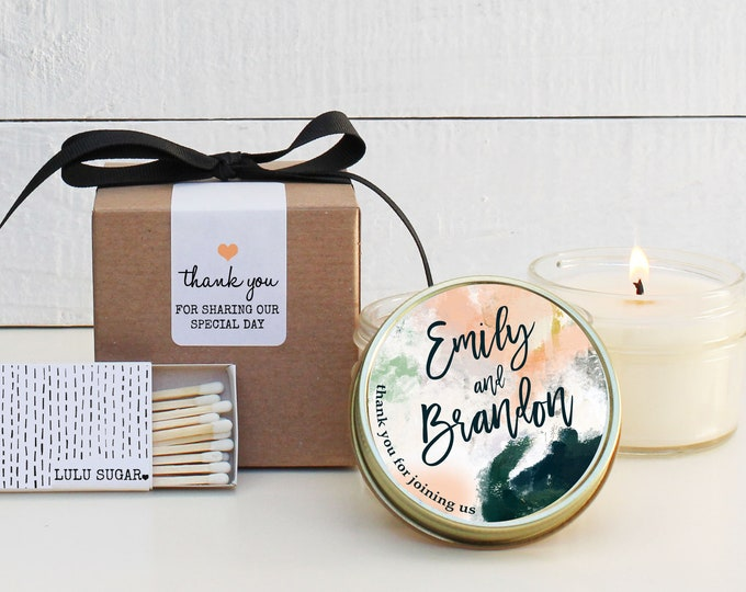 Modern Wedding Favors - Watercolor Label Design - Wedding Favor Candles | Soy Candle Wedding Favors | Watercolor Wedding Favors