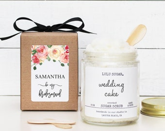 Will you be my Bridesmaid Gift | be my Maid of Honor Gift | Floral Bridesmaid Gift | Marsala Bridesmaid Candle - Pink Floral Label