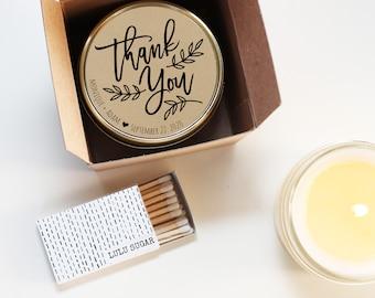 Wedding Favor Candles - Thank You Wedding Favors - Personalized Wedding Favors | Soy Candle Favor | Boxed Wedding Favors
