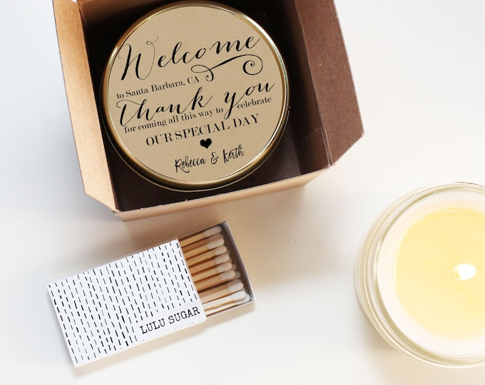 Wedding Favor Candles - Welcome Label Design - Thank You Wedding Favors   Wedding Welcome Bag Favors   Soy Candle Favor