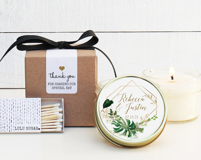 Wedding Favor Candles - Tropical Leaves Label Design - Personalized Wedding Favors   Soy Candle Favor   Geometric Wedding Favors